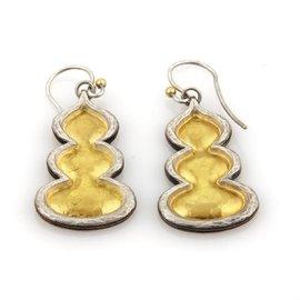 Gurhan Flame 3 Tier 925 Sterling Silver & 24K Yellow Gold Drop Dangle Earrings