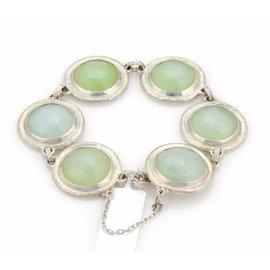 Gurhan Gumdrop 925 Sterling Silver with 6 Aqua Chalcedony Round Link Bracelet