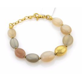 Gurhan Nugget 24K Yellow Gold with Moonstone Beaded Bracelet
