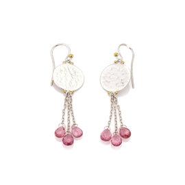 Gurhan Lush Hues 925 Sterling Silver & 24K Yellow Gold Pink Tourmaline Disc Triple Strand Dangle Earrings