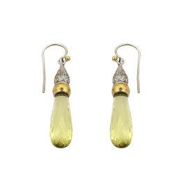 Gurhan Spring 24K Yellow Gold & 925 Sterling Silver Lemon Citrine & Diamonds Dangle Earrings