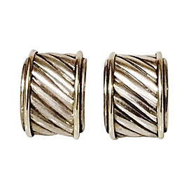 David Yurman Classic Cable Sterling Silver and 14K Yellow Gold Cigar Band Earrings