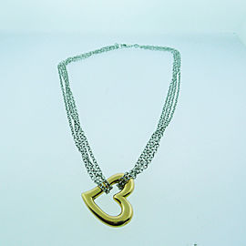 14k White Rose Gold Multi Chain Heart Necklace Chain