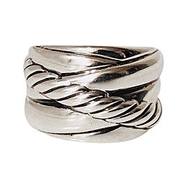 David Yurman Sculpted Cable Crossover Sterling Silver Band Ring Size 6