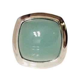 David Yurman Sterling Silver with Aqua Chalcedony Albion Ring Size 7