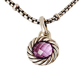 David Yurman Cable Sterling Silver with Amethyst Enhancer Pendant