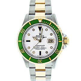 Rolex Submariner 16613 Stainless Steel & 18K Yellow Gold White Diamond and Sapphire 40mm Mens Watch