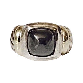 David Yurman Sterling Silver and 14K Yellow Gold with Hematite Ring Size 5