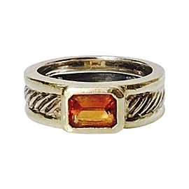 David Yurman Cable Sterling Silver and 14K Yellow Gold with Citrine Band Ring Size 6