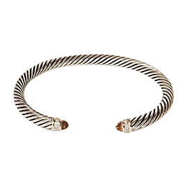 David Yurman Sterling Silver with Citrine and 0.07ct. Diamond Classic Cable Cuff Bracelet
