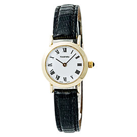 Tourneau Womens Quartz Watch White Dial 18K Yellow Gold Leather Band 23mm