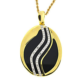 18k Yellow Gold Onyx & Diamond Oval Pendant with 14k Rope Chain