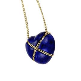 Tiffany & Co. 18K Yellow Gold & Lapis Lazuli Heart Pendant Necklace