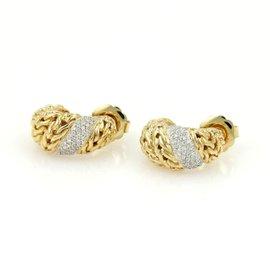 John Hardy Classic Chain Buddha Belly 18K Yellow Gold with 0.23ct. Diamond Earrings