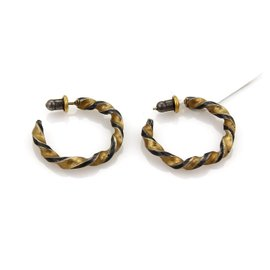 Gurhan 24K Yellow Gold and 925 Sterling Silver Twisted Hoop Earrings