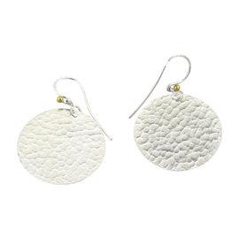 Gurhan Lush Sterling Silver 24k Gold Flake Disc Dangle Earrings