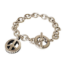Lagos Caviar Sterling Silver Peace Sign Chain Toggle Bracelet