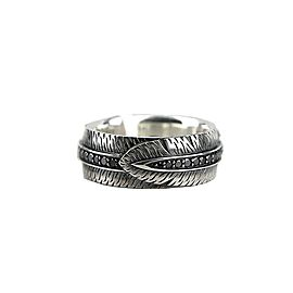 DAVID YURMAN ST. SILVER BLACK DIAMONDS FRONTIER FEATHER BAND RING SZ10