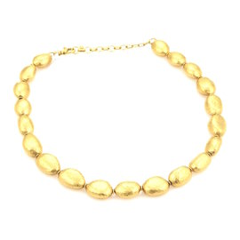 Gurhan Classic Nugget 24K Yellow Gold Hand Hammered Pebble Link Necklace