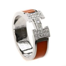 Hermes 18K White Gold & Orange Enamel Diamond H Ring Size 7