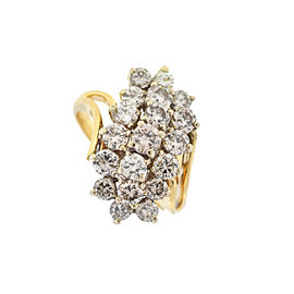 14k Yellow Gold Cluster Diamond Ring 1.5 cts