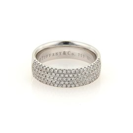 Tiffany & Co. 18K White Gold with 0.90ct Diamond Ring Size 7