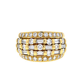 18k Yellow Gold Wide 5 Row Ring
