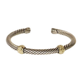 David Yurman Sterling Silver and 14K Yellow Gold Cable Two Station Cuff Bracelet