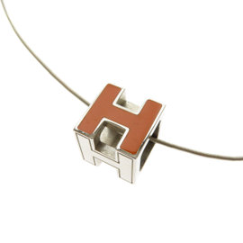 Hermes Silver Tone Hardware H Cube Necklace