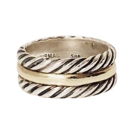 David Yurman Cable 14K Yellow Gold and Sterling Silver Ring Size 6.5