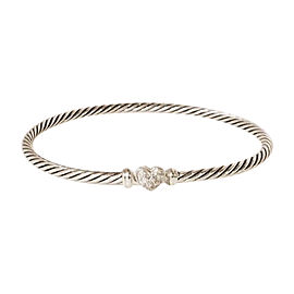 David Yurman Cable Sterling Silver with 0.09ctw. Diamond Bracelet