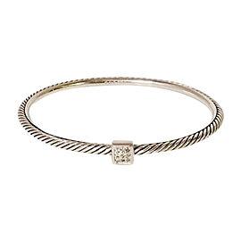 David Yurman 925 Sterling Silver with Diamond Confetti Bangle Bracelet