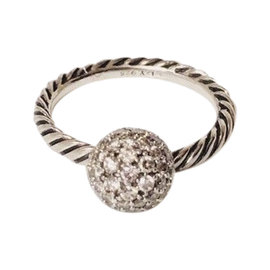 David Yurman 925 Sterling Silver with 0.87ctw Diamond Elements Stack Dangle Ring Size 6