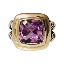 David Yurman Albion 925 Sterling Silver & 18K Yellow Gold Amethyst Classic Cable Ring Size 7