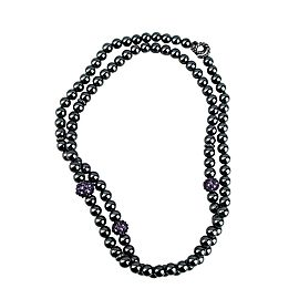 "DAVID YURMAN ST. SILVER 36"" BLACK HEMATITE & AMETHYST OSETRA NECKLACE"