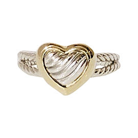David Yurman Classic Cable 925 Sterling Silver & 18K Yellow Gold Heart Ring Size 8.5