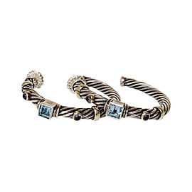 David Yurman 925 Sterling Silver & 14K Yellow Gold Blue Topaz & Iolite Renaissance Cable Hoop Earrings