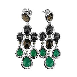 DAVID YURMAN ST. SILVER 18K GOLD CHANDELIER DANGLING GREEN ONYX EARRINGS