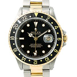 Rolex GMT-Master II 16713 Mens Automatic Watch Two Tone Gold Buckle 40mm
