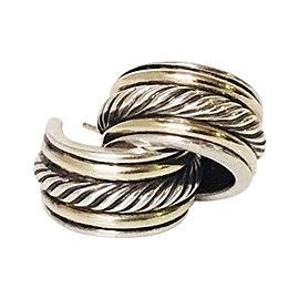 David Yurman Classic Cable 925 Sterling Silver & 18K Yellow Gold Hoop Huggie Earrings