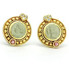 Judith Ripka 18k White Gold, 18k Yellow Gold Diamond, Tourmaline Earrings