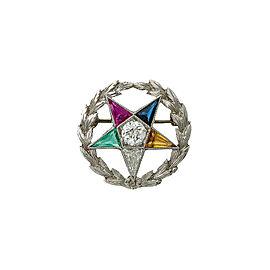14K White Gold Order of The Eastern Star Laurel Wreath Diamond Gems Pin Brooch