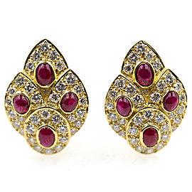 Vintage Van Cleef & Arpels 18K Yellow Gold Diamond & Ruby Earrings