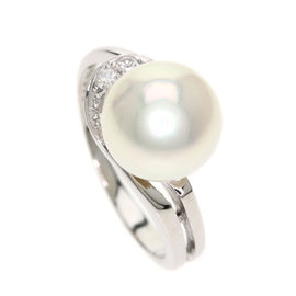 Mikimoto PT950 Platinum with Cultured Pearl and Diamond Ring Size 4.25