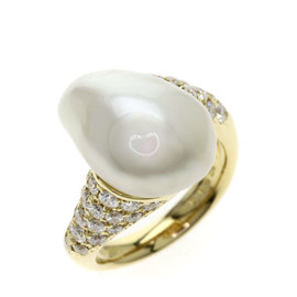 Mikimoto 18K Yellow Gold with Cultured Pearl and 0.83ct Diamond Ring Size 4.25