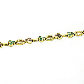 Fred Of Paris 18K Yellow Gold Emerald, Ruby, Diamond Bracelet