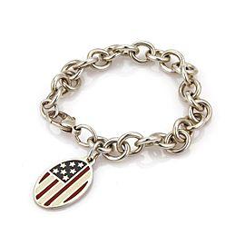 Tiffany & Co. 925 Sterling Silver & Enamel USA Flag Oval Charm Chain Bracelet