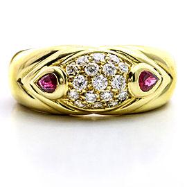 Salavetti Diamond Ruby Band Ring in 18k Yellow Gold Size 6