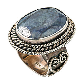 Vintage BJC Sterling Silver 925 Apx 15 Ct Sapphire Gemstone Ring Size 6