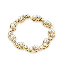 Mikimoto 18K Yellow Gold Cultured Pearl Diamond Bracelet